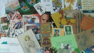 Mixed Paper Epherma Junk Drawer Lot Old  Magazines Cards Words Stamps Postcards