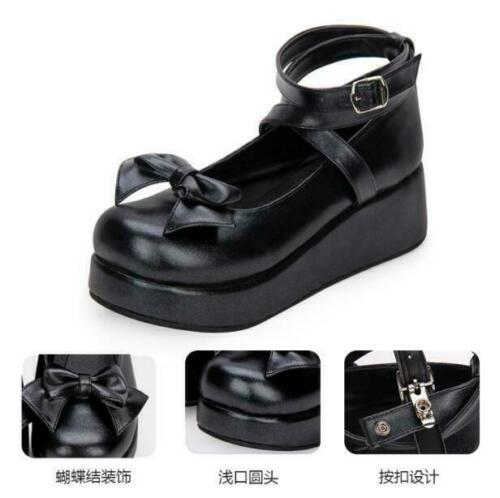 Cosplay Lolita Shoes Womens Bowknot Mary Jane Thicken Platform Shoes Muffins