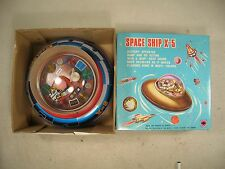Vintage NIB Space Ship X-5  Rotating Flashing Lights Flying Saucer Tested Box EC