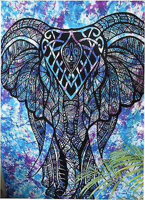 Twin Elephant With Trunk Tapestry Indian Wall Hanging Hippie Bedspread Decor Art