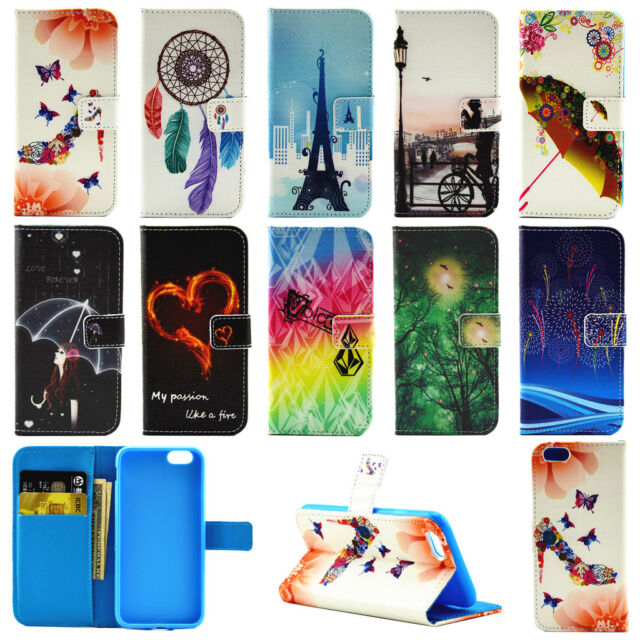 Flip Patterned Leather Card Stand Wallet Case Cover For iPhone 5 5S/6 6S Plus/SE