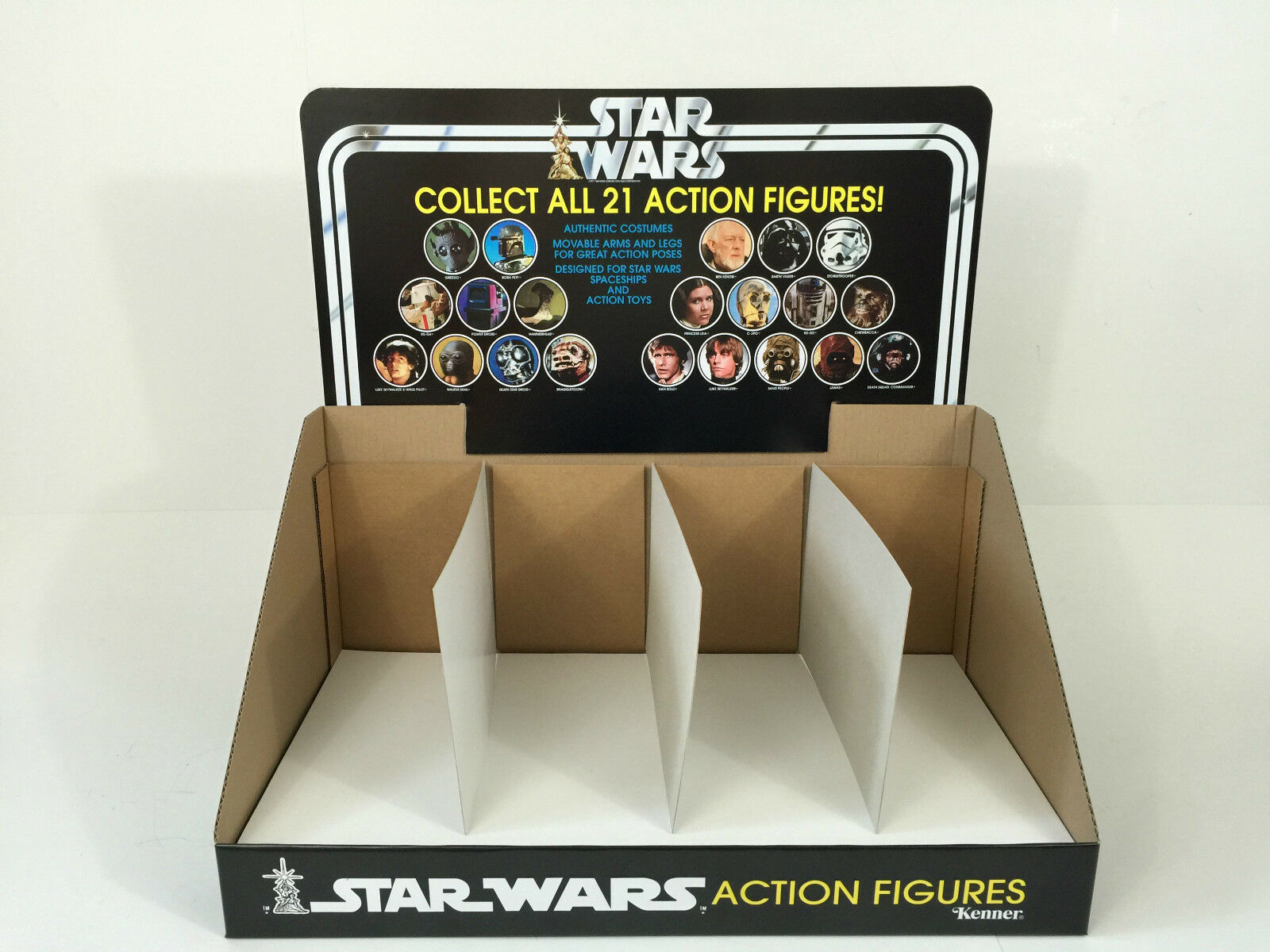 Reproduction vintage star wars collect all 21 display header and bin