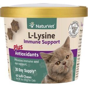 Naturvet L-Lysine Soft Chews for Cats Immune Support Eye Health 60ct