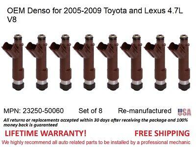 8 Fuel Injectors OEM DENSO for 2005-2009 Toyota Tundra 4.7L V8 #23250-50060
