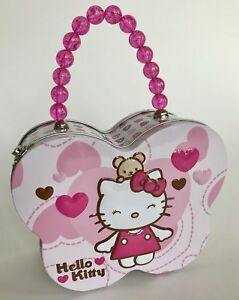 Hello-Kitty-Butterfly-Tin-Box-Lunch-Purse-Bead-Handle-Excellent-Super-Cute
