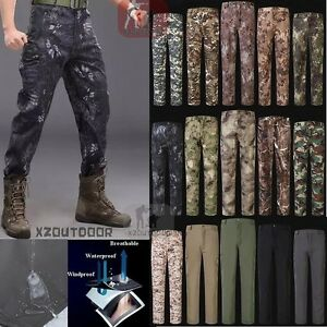 TAD Mens Military Shark Skin Outdoor Pants Soft Shell Waterproof Fleece Trousers