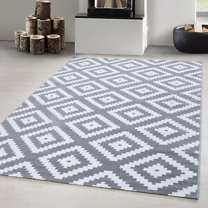 Designer Teppich Modern Wohnzimmer Raute Design Karo Muster Grau