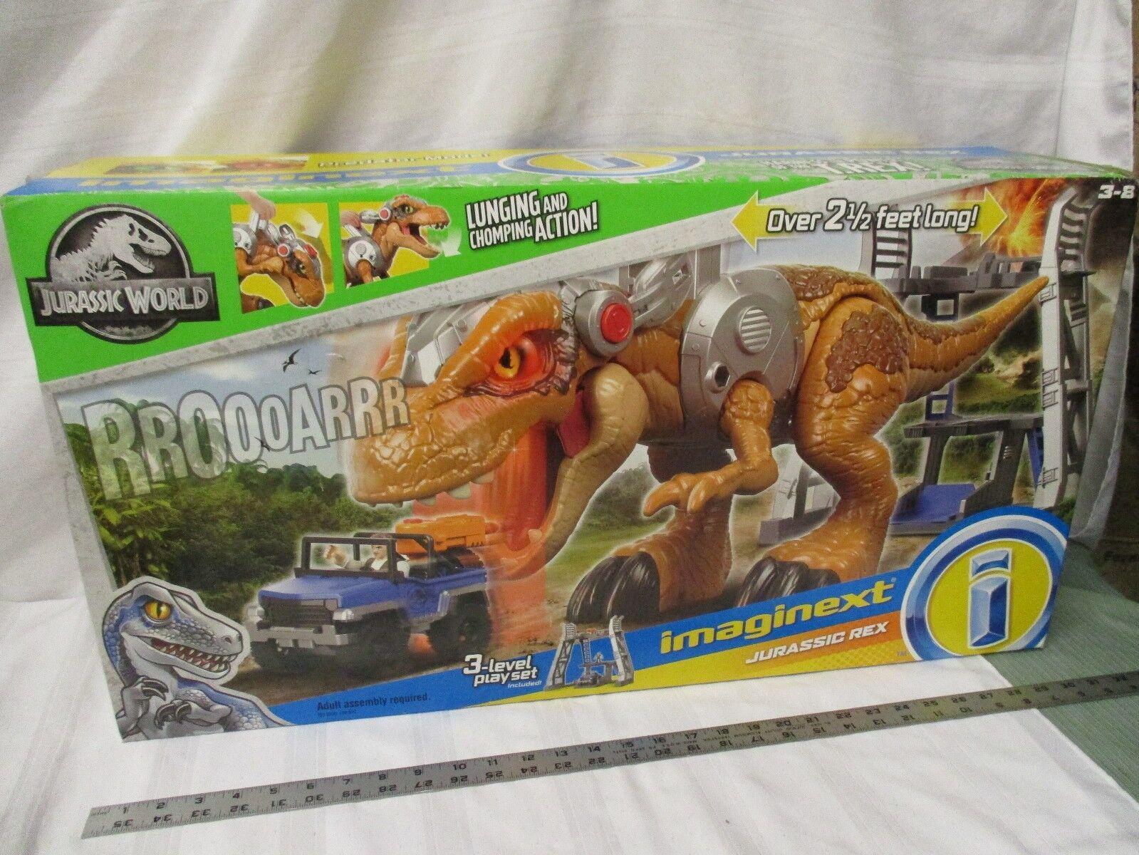 Fisher price Imaginect Jurassic värld Dinosaur NY Rex T rex 2 's långa låda Park