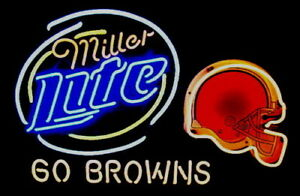 c8e3b137 Details about New Miller Lite NFL Cleveland Browns Beer Bar Pub Neon Light  Sign 24
