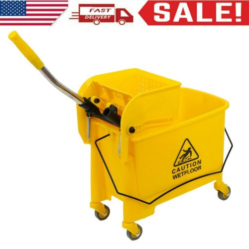 Mini Mop Bucket w//Wringer Combo 5 Gallon Commercial Rolling Cleaning Cart Yellow