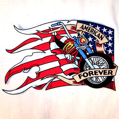 AMERICAN FLAG W BIKE JUMBO BACK PATCH jacket biker JP12  bikers novelty patches