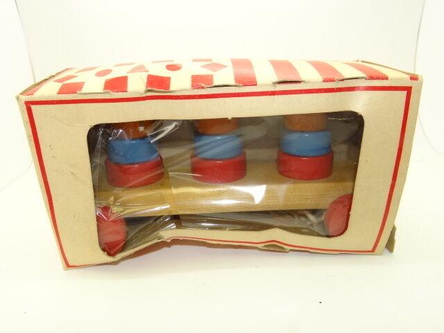 Vintage Usati in Legno Jaymar Tiny Tot Torre Cart Tirare Auto per Bambino