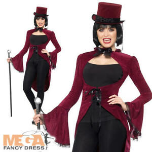 Enthousiaste Vampire Jacket Ladies Fancy Dress Gothic Vampiress Adultes Costume Halloween Neuf-afficher Le Titre D'origine