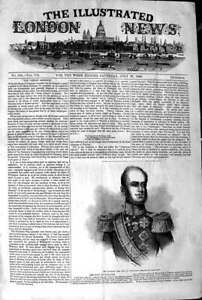 Original-Old-Antique-Print-1845-Portrait-Majesty-King-Holland-19th
