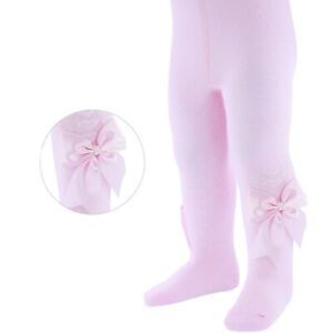 Baby Girls Spanish Style Tights Large Bow /& Heart Design White Pink NB-24 M NEW