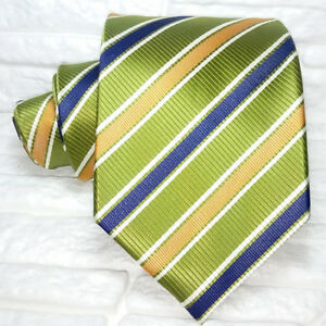 Wide-green-neck-tie-striped-silk-TRE-brand-Italy-business-bridal-RRP-38