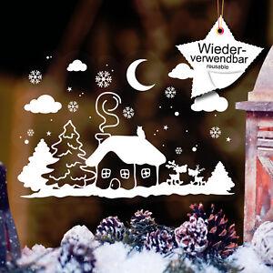 fensterbilder weihnachten winterhäuschen schneeflocken wiederverwendbar kinder   ebay