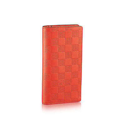 LV LOUIS VUITTON BRAZZA DAMIER INFINI LEATHER WALLET BIFOLD MAGMA ORANGE N62242