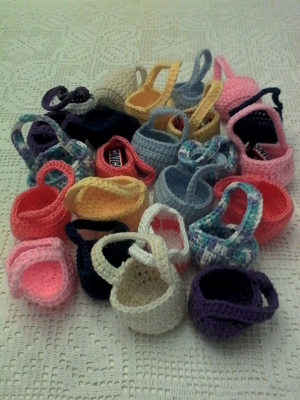 Crocheted mini baskets for party favors