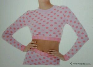 f6c4397770c Ladies Teens HOT!MESS Polka Long Sleeve Crop Top -Pink- XS-S UK 8-10 ...