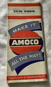 1940's Era AMOCO Road Map NEW YORK Great Graphics and Colors