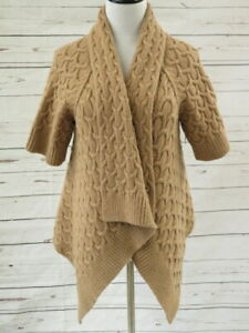 Calypso-St-Barth-Cardigan-Cable-Yali-Tan-Size-Medium-Asymmetric-Draped-Sweater