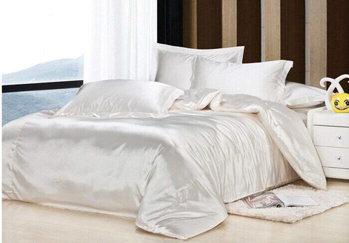 4pc.100% Mulberry Silk Solid White Full Queen King Duvet Cover Set