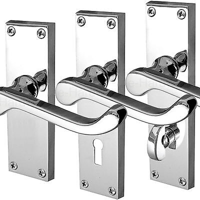 PACK 9 Polished CHROME Victorian Scroll Lever Latch Internal Door Handles D10