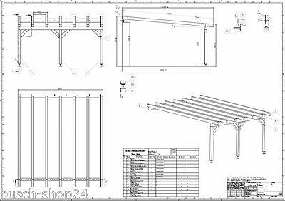 416 Baupläne Bauplan Pultdach Carport Terrassendächer Holzdach Bauanleitung