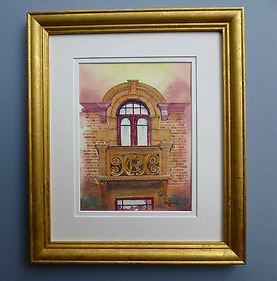 """Original Framed  and glazed Watercolour """" The Stationmaster's Balcony"""""""