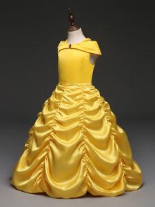 71f217f3dba10 2018 Girls Beauty and the Beast Dress kids Princess Belle Wedding ...