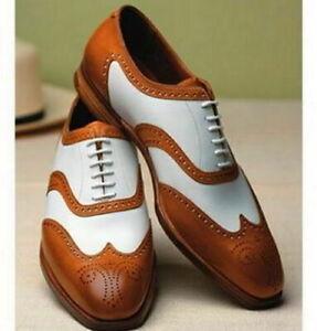 Handmade-Men-039-s-Brown-amp-Cuir-Blanc-Coeur-Medaillon-Robe-Formelle-Chaussures