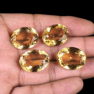 4-Pcs-Natural-Citrine-21mm-22mm-Oval-Cut-Sparkling-Loose-Gemstones-98-35-Cts