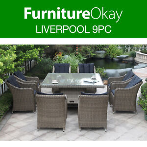 Liverpool 9pc Wicker Outdoor Square Dining Table Chairs ...