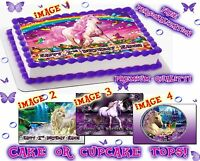 Unicorn Cake Edible Picture Fantasy Sugar Sheet Image Decal Sticker Paper Topper
