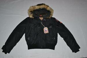 AUTHENTIC-PARAJUMPERS-GOBI-ECO-BOYS-HOODED-BOMBER-BLACK-SIZE-6-KIDS-BRAND-NEW