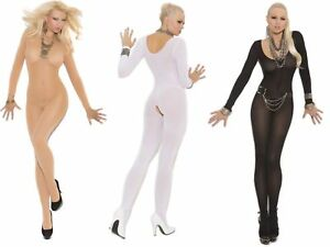 808f898be Image is loading Long-Sleeve-Opaque-Bodystocking-Elegant-Moments-Crotchless -Open-