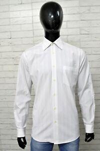 Camicia-Uomo-HUGO-BOSS-Taglia-Size-40-XL-Shirt-Maglia-Polo-Cotone-Man-A-Righe