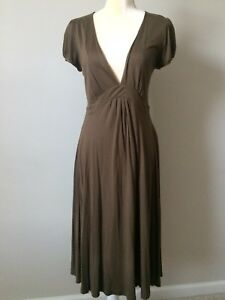 H&M Women's Size 6 Midi Dress Olive Green Fit And Flare ...