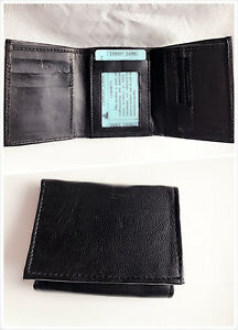New-Mens-Trifold-Leather-Wallet-Multi-Pockets-Black-Classic-Style-Card-ID