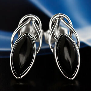 Onyx-Silber-925-Ohrringe-Damen-Schmuck-Sterlingsilber-S592