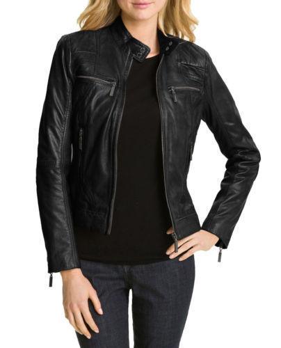 femme en v cuir de design motard Veste pour IXnq4H8I0