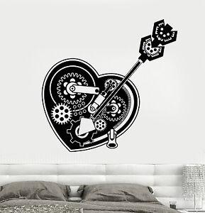 Vinyl Decal Steampunk Heart Mechanical Gear Romantic Best Seller Unique Wall Decor ig2195ca