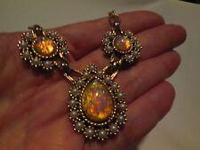 "Vtg Estate Designer Signed Sarah Cov Czech Opal Glass Faux Pearl 18"" Necklace"