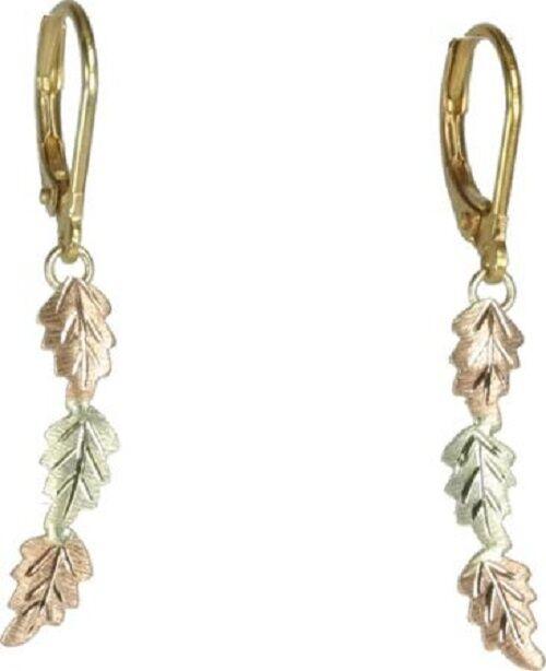THREE LEAF LEVER BACK DANGLES~~ Black Hills Gold Earrings