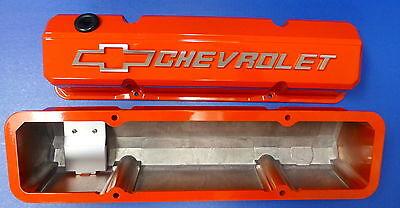 Proform 141-924 Chevy Small Block Inclinado Válvula De Aluminio Fundido de borde cubre Naranja