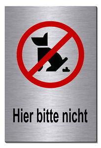Möbel & Wohnen Hier Bitte Nicht-aluminium-edelstahl-optik-schild-15 X 10cm-warnschild-hund-top Dekoration