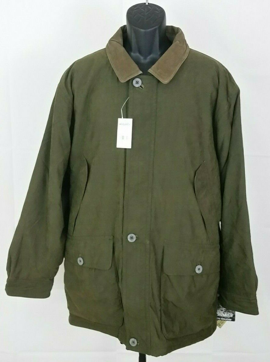 Woolrich Arctic Insulation Men's Leather Collar Green Barn Coat Size Large NWT