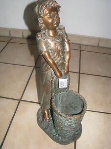 grosse-schwere-Bronzefigur-53cm-Maedchen-mit-Korb-8-5kg-Garten-Gartenfigur-DEKO