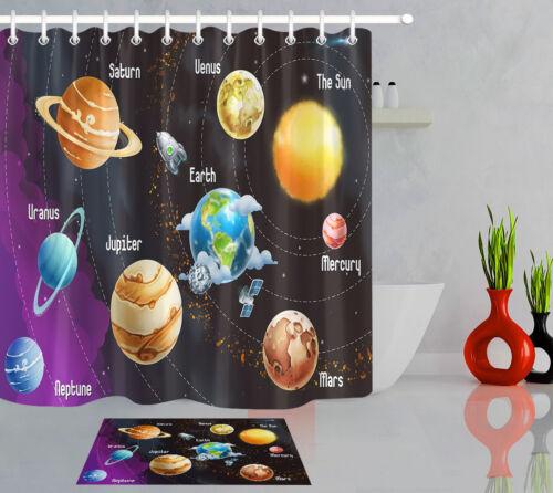 Solar System Of Planets Waterproof Fabric Bath Decor Shower Curtain /& 12 Hooks
